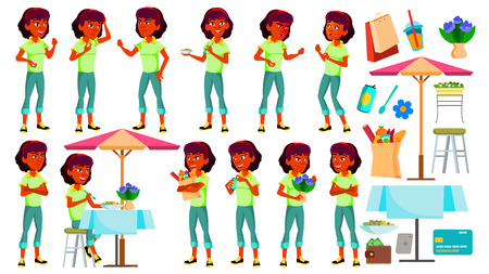 Teen Girl Poses Set Vector. Indian, Hindu. Asian. Face. Children. For Web, Brochure, Poster Design. Isolated Cartoon Illustration