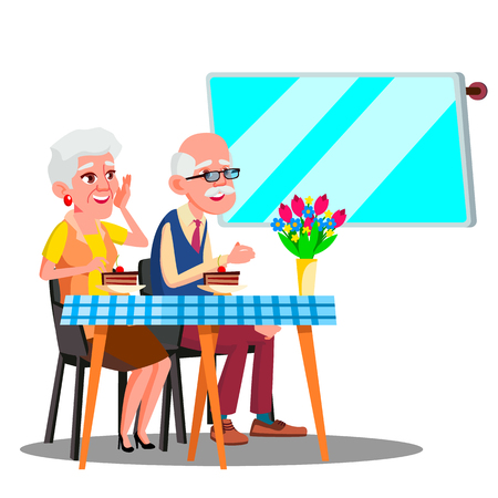 Happy Elderly Couple Sitting In Cafe And Watching In Digital Screen Vector. Illustration Çizim