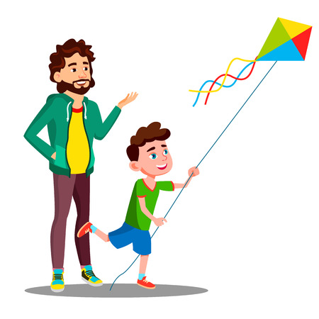 Happy Father And Child Son Launch A Kite Vector. Illustration