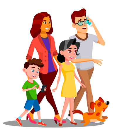 Family Walking, Spending Time Together Outdoor Vector. Illustration