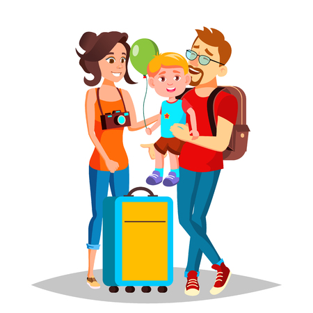 Young Family Traveling With A Small Child Vector. Illustration