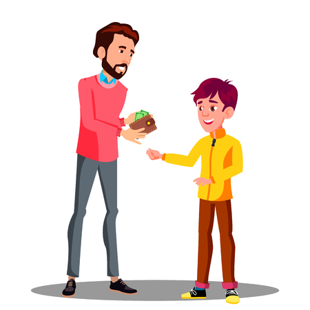 Father Gives Money From His Purse To His Son Vector. Illustration