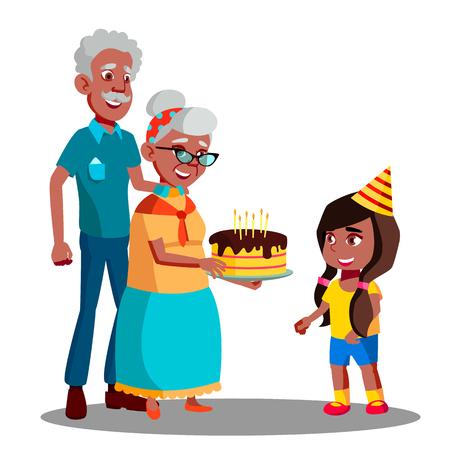 Afro American Old Man, Woman Celebrating Child Granddaughter Birthday Vector. Illustration Illustration