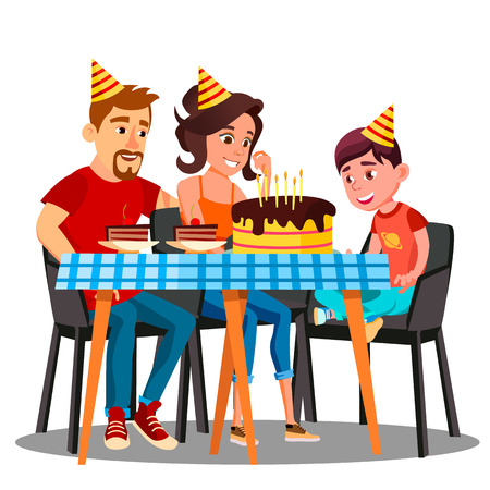 Birthday Of Child, Family Sitting At The Party Table With A Cake Vector. Illustration
