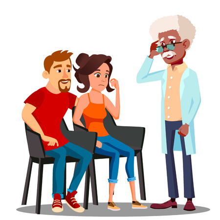 Family Psychologist Talking To Middle Aged Couple Vector. Illustration Illustration