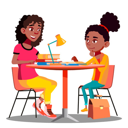 La madre afroamericana aiuta il bambino a fare i compiti a scuola vettore. Illustrazione