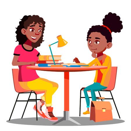 Madre afroamericana ayuda al niño a hacer la tarea escolar Vector. Ilustración
