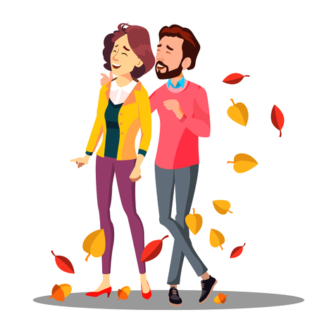 Young Couple In Love Walking Among Falling Autumn Leaves Vector. Illustration