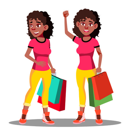 Happy Woman With Shopping Bags After Shopping Vector. Illustration Illusztráció
