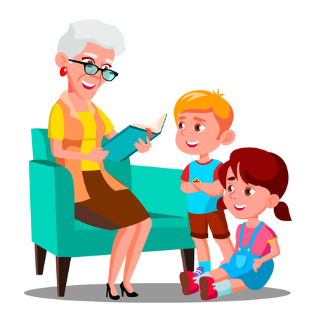 Grandmother Is Reading A Book To Her Grandchildren Vector. Illustration 向量圖像
