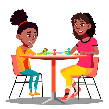 Mother And Daughter Playing A Board Game Together Vector. Illustration