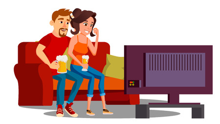 Young Couple With Glasses Of Beer Watching Tv On Sofa Vector. Isolated Illustration