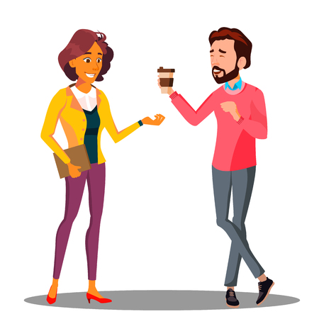 Man Passes A Cup Of Coffee To Woman Vector. Isolated Illustration