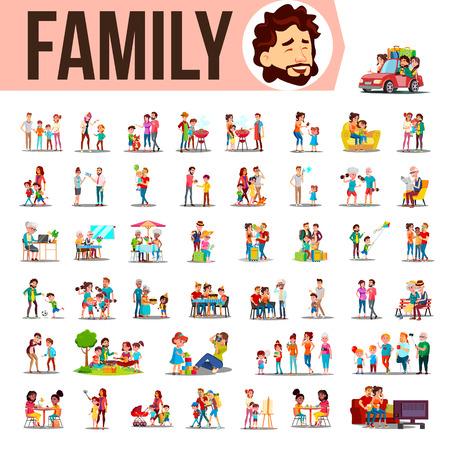 Famiglia Set vettoriale. Membri della famiglia che trascorrono del tempo insieme a casa, all'aperto. Padre, madre, figlio, figlia, nonna, nonno. Illustrazione del fumetto di situazioni di stile di vita