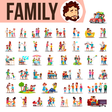 Familie instellen Vector. Familieleden tijd samen thuis, buiten doorbrengen. Vader, moeder, zoon, dochter, grootmoeder, grootvader. Lifestyle situaties Cartoon afbeelding
