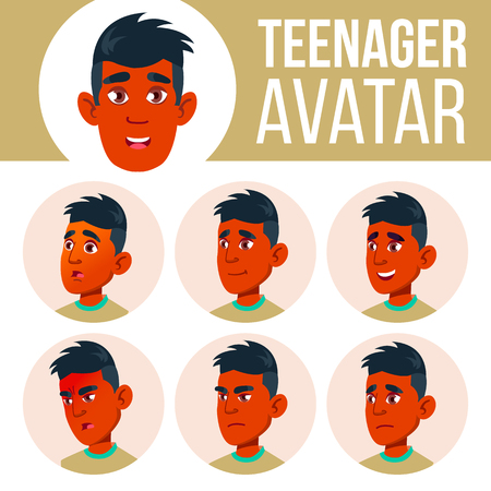 Teen Boy Avatar Set Vector. Indian, Hindu. Asian. Face Emotions. Children, Young People. Life, Emotional. Cartoon Head Illustration Illustration