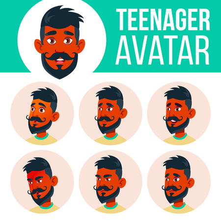 Teen Boy Avatar Set Vector. Indian, Hindu. Asian. Face Emotions. Expression, Positive Person. Beauty, Lifestyle. Cartoon Head Illustration Illustration