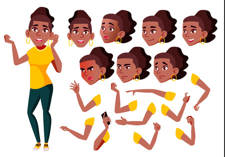 Teen Girl Vector. Black. Afro American. Teenager. Positive Person. Face Emotions, Various Gestures. Animation Creation Set. Isolated Flat Cartoon Character Illustration Foto de archivo - 109797670