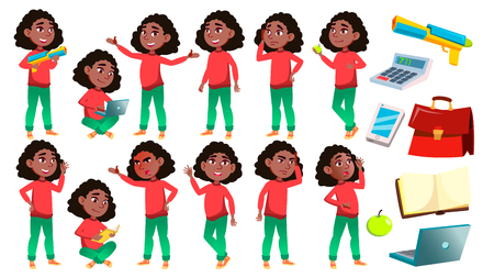 Girl Schoolgirl Kid Poses Set Vector. Black. Afro American. High School Child. Children Study. Knowledge, Learn, Lesson. For Advertising, Placard, Print Design. Isolated Cartoon Illustration