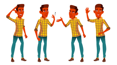 Teen Boy Poses Set Vector. Indian, Hindu. Asian. Cute, Comic. Joy. For Postcard, Announcement, Cover Design. Isolated Cartoon Illustration