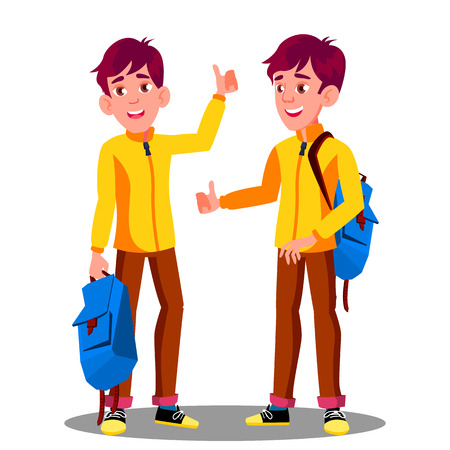 Boy With School Bag Holding Thumb Up Vector. Illustration Stock Illustratie