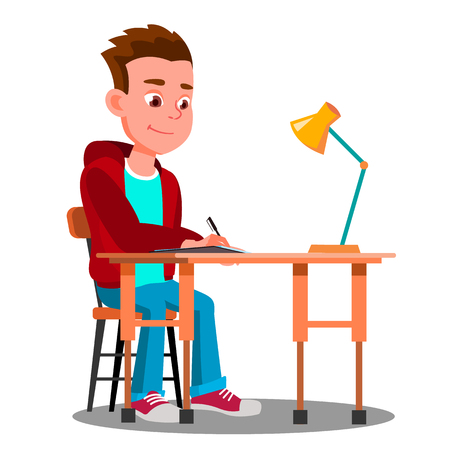 Writing Boy At The Table With Desk Lamp Vector. Illustration