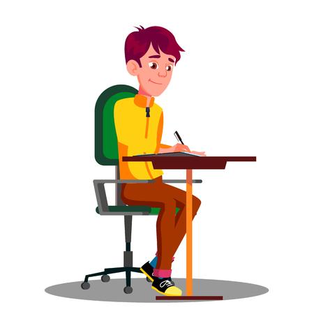 Student mit Stift in der Hand, der Prüfungen auf Blatt Papier-Vektor schreibt. Isolierte Illustration Vektorgrafik