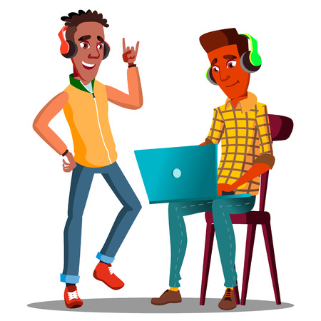 Student Looking At Laptop And Listening To Music On Headphones Vector. Illustration