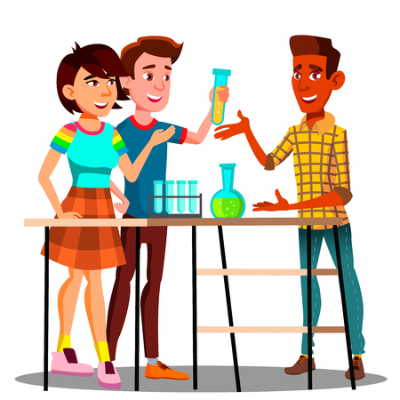 Group Of Students Standing At Table With Flasks, Chemistry Lesson Vector. Illustration
