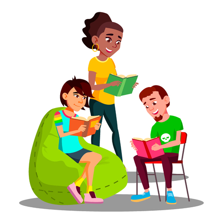 Multicultural Student Group Boys And Girls Reading Their Books Vector. Illustration Ilustracje wektorowe