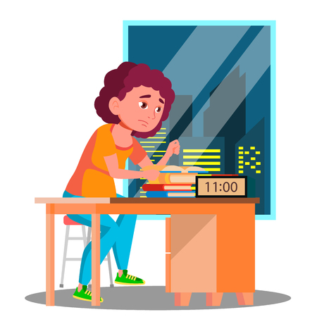Tired Girl Preparing For The Exam At Night Vector. Isolated Illustration