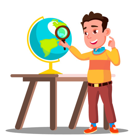 Student Looking Through A Magnifying Glass Globe, Geography Lesson Vector. Illustration Illustration