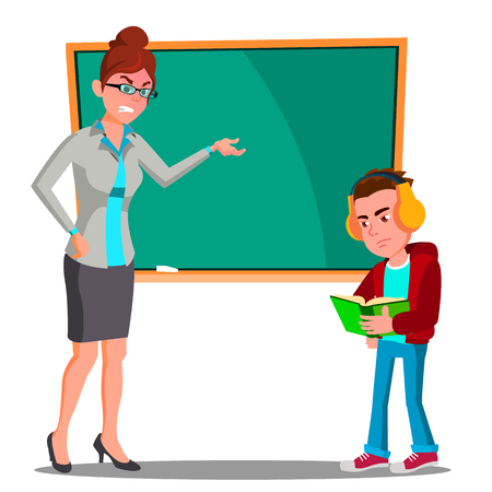 Angry Teacher At The Blackboard, The Child At Desk Looking Into The Book With Headphones Vector. Illustration