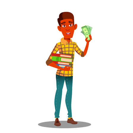 Student Holding Pile Of Books In One Hand And Stack Of Money In The Other Vector. Isolated Illustration