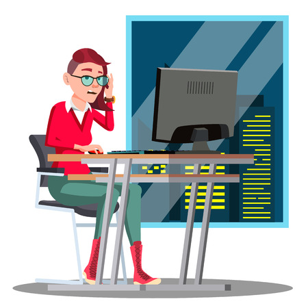 Overwork, Manager Working At The Table On Background Of Night Window Vector. Isolated Illustration Illustration