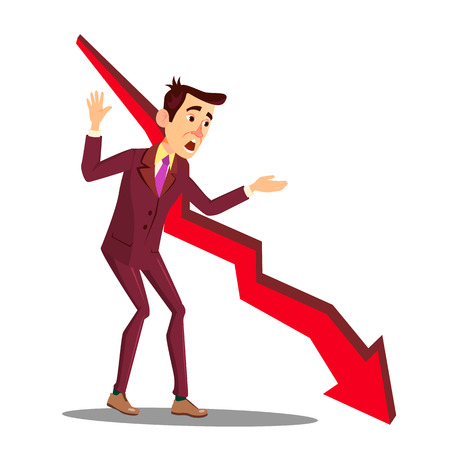 Manager In Stress Next To Arrow Of Falling Sales Graph Vector. Illustration