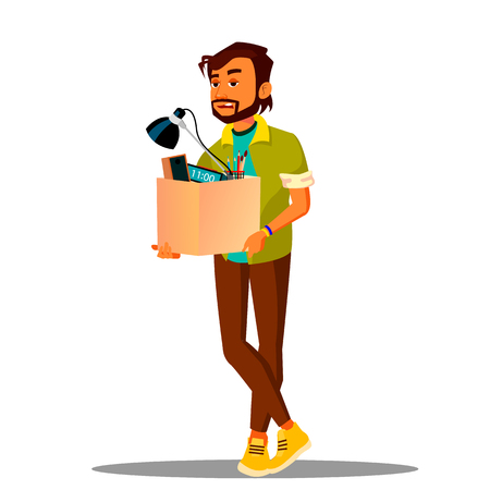 Frustrated Business Loser Leaves Office With A Box Of His Belongings Vector. Illustration