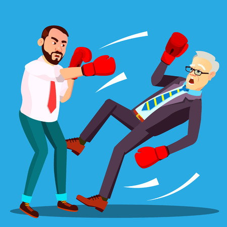 One Businessman Loser Fell To Floor, Second Lucky Businessman The Winner In Boxing Gloves Vector. Isolated Illustration