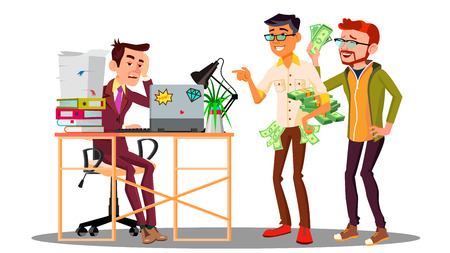 Businessman Loser With A Stack Of Documents Next To Laughing Colleagues With Money Vector. Illustration