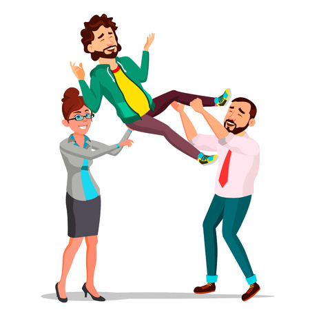 Customer Support, Employee In Business Suit Holding A Happy Client Over His Head Vector. Illustration Illustration
