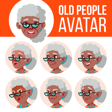 Old Woman Avatar Set Vector. Black. Afro American. Face Emotions. Senior Person Portrait. Elderly People. Aged. Children. Beautiful, Funny Head Illustration Stock Illustratie
