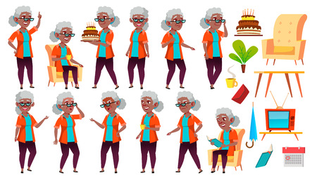 Old Woman Poses Set Vector. Black. Afro American. Elderly People. Senior Person. Aged. Positive Pensioner. Advertising, Placard, Print Design. Isolated Cartoon Illustration