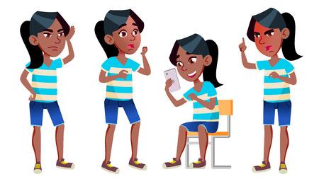 Fille écolière Kid Poses Set Vector. Le noir. Afro américain. Lycéen. Adolescent. Livre, espace de travail, tableau. Pour la publicité, l'accueil, la conception d'annonces. Illustration de dessin animé isolé