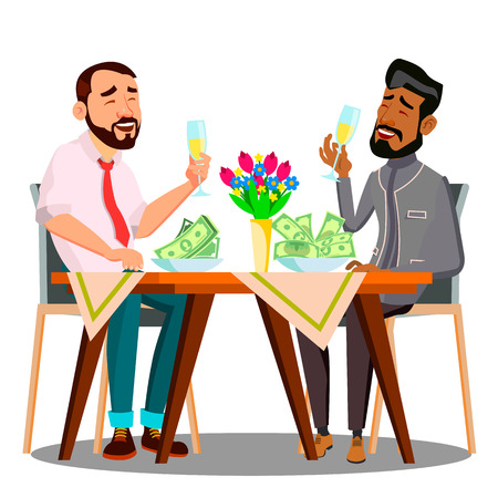Business Lunch, Two People At The Table With Plates Full Of Money Vector. Isolated Illustration Banque d'images - 110424924