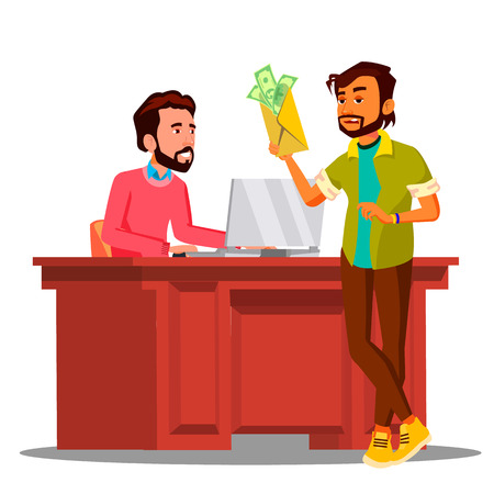 Corruption, Man Giving Money To Chief Sitting In Chair At The Table In Office Vector. Isolated Illustration
