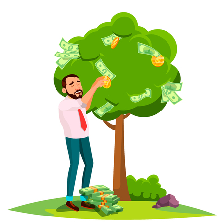Businessman Pick An Money From A Tree Instead Of Leaves Vector. Illustration