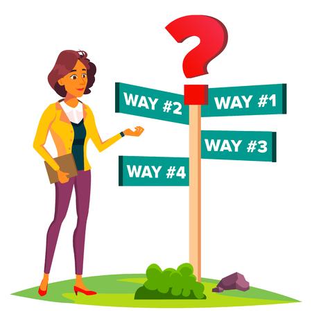 Geschäftsfrau wählt einen Weg der Wege, Richtung, Strategievektor. Illustration
