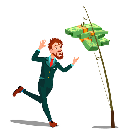 Businessman Catching Money Hanging On The Hook Of Fishing Rod Vector. Isolated Illustration