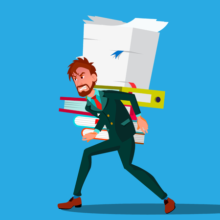 Businessman In Suit Bent Over Carrying A Stack Of Documents On His Back Vector.