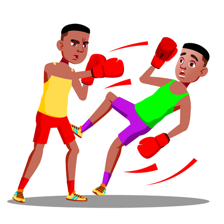 Two Teenagers Boxing At The Competitions In Ring Vector. Illustration